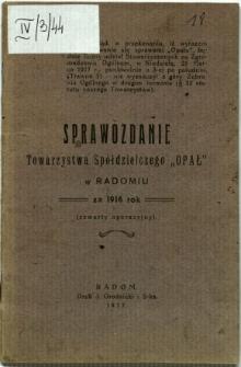 """Sprawozdanie Towarzystwa Spółdzielczego """"Opał"""" w Radomiu za 1916 rok"""
