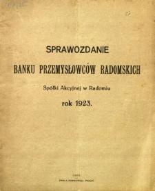 Sprawozdanie Banku Przemysłowców Radomskich Spółki Akcyjnej w Radomiu rok 1923
