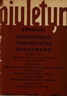 Biuletyn Kwartalny Radomskiego Towarzystwa Naukowego, 1967, T. 4, z. 4