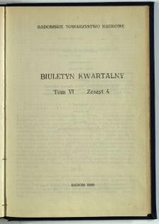 Biuletyn Kwartalny Radomskiego Towarzystwa Naukowego, 1969, T. 6, z. 4