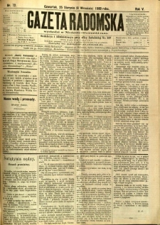 Gazeta Radomska, 1888, R. 5, nr 72