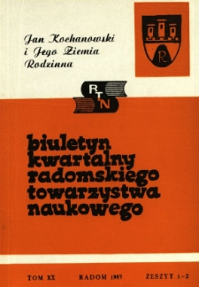 Biuletyn Kwartalny Radomskiego Towarzystwa Naukowego, 1983, T. 20, z. 1-2