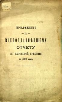 Priloženie ko vsepoddani jšemu otčetu no radomskoj gubernii za 1897 god