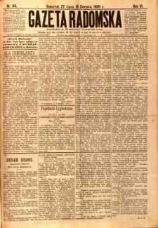 Gazeta Radomska, 1889, R. 6, nr 64
