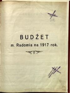 Budżet m. Radomia na 1917 rok
