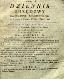 Dziennik Urzędowy Województwa Sandomierskiego, 1826, nr 6