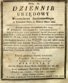 Dziennik Urzędowy Województwa Sandomierskiego, 1826, nr 12