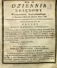 Dziennik Urzędowy Województwa Sandomierskiego, 1826, nr 13