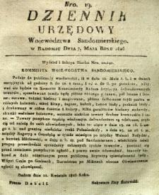 Dziennik Urzędowy Województwa Sandomierskiego, 1826, nr 19