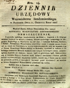 Dziennik Urzędowy Województwa Sandomierskiego, 1826, nr 24