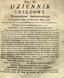 Dziennik Urzędowy Województwa Sandomierskiego, 1826, nr 36