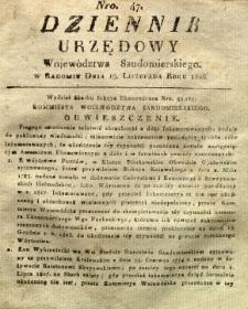 Dziennik Urzędowy Województwa Sandomierskiego, 1826, nr 47