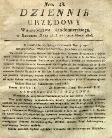 Dziennik Urzędowy Województwa Sandomierskiego, 1826, nr 48