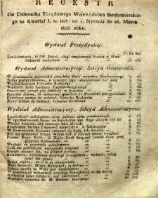 Regestr do Dziennika Urzędowego Województwa Sandomierskiego za kwartał I 1826 r.