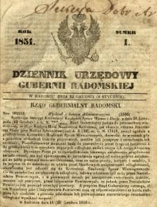 Dziennik Urzędowy Gubernii Radomskiej, 1851, nr 1