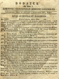 Dziennik Urzędowy Gubernii Radomskiej, 1851, nr 1, dod. I