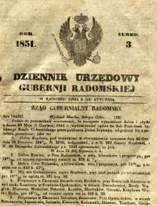 Dziennik Urzędowy Gubernii Radomskiej, 1851, nr 3