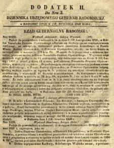 Dziennik Urzędowy Gubernii Radomskiej, 1851, nr 3, dod. II