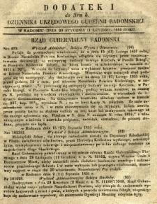 Dziennik Urzędowy Gubernii Radomskiej, 1851, nr 5, dod. I