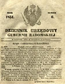 Dziennik Urzędowy Gubernii Radomskiej, 1851, nr 6