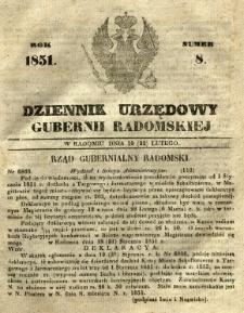 Dziennik Urzędowy Gubernii Radomskiej, 1851, nr 8