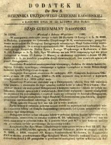 Dziennik Urzędowy Gubernii Radomskiej, 1851, nr 8, dod. II