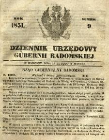 Dziennik Urzędowy Gubernii Radomskiej, 1851, nr 9