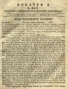 Dziennik Urzędowy Gubernii Radomskiej, 1851, nr 9, dod. I