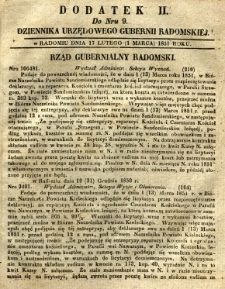 Dziennik Urzędowy Gubernii Radomskiej, 1851, nr 9, dod. II