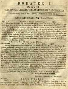 Dziennik Urzędowy Gubernii Radomskiej, 1851, nr 10, dod. I