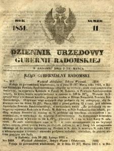 Dziennik Urzędowy Gubernii Radomskiej, 1851, nr 11