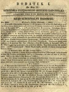 Dziennik Urzędowy Gubernii Radomskiej, 1851, nr 11, dod. I