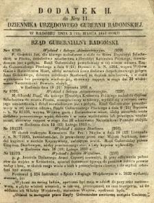 Dziennik Urzędowy Gubernii Radomskiej, 1851, nr 11, dod. II