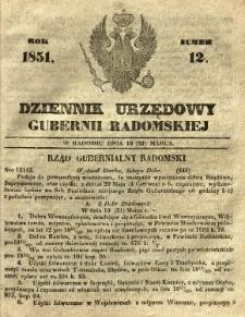 Dziennik Urzędowy Gubernii Radomskiej, 1851, nr 12