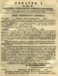 Dziennik Urzędowy Gubernii Radomskiej, 1851, nr 13, dod. I