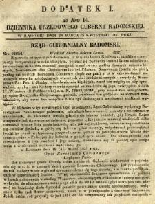 Dziennik Urzędowy Gubernii Radomskiej, 1851, nr 14, dod. I