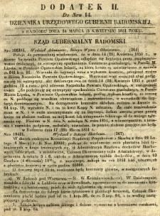 Dziennik Urzędowy Gubernii Radomskiej, 1851, nr 14, dod. II