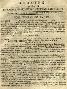 Dziennik Urzędowy Gubernii Radomskiej, 1851, nr 15, dod. I