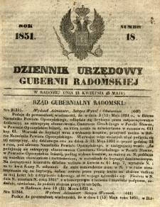 Dziennik Urzędowy Gubernii Radomskiej, 1851, nr 18
