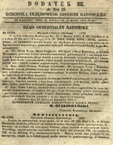 Dziennik Urzędowy Gubernii Radomskiej, 1851, nr 18, dod. III