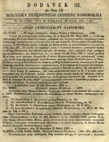 Dziennik Urzędowy Gubernii Radomskiej, 1851, nr 19, dod. III