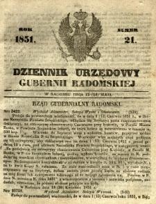 Dziennik Urzędowy Gubernii Radomskiej, 1851, nr 21