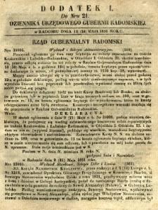 Dziennik Urzędowy Gubernii Radomskiej, 1851, nr 21, dod. I