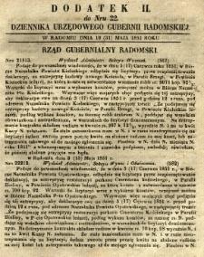 Dziennik Urzędowy Gubernii Radomskiej, 1851, nr 22, dod. II