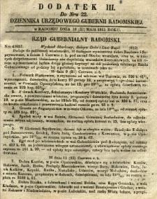 Dziennik Urzędowy Gubernii Radomskiej, 1851, nr 22, dod. III