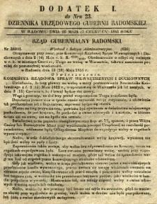Dziennik Urzędowy Gubernii Radomskiej, 1851, nr 23, dod. I