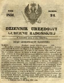 Dziennik Urzędowy Gubernii Radomskiej, 1851, nr 24