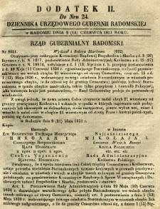 Dziennik Urzędowy Gubernii Radomskiej, 1851, nr 24, dod. II