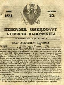 Dziennik Urzędowy Gubernii Radomskiej, 1851, nr 25