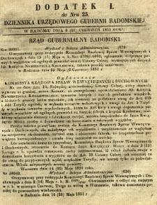 Dziennik Urzędowy Gubernii Radomskiej, 1851, nr 25, dod. I